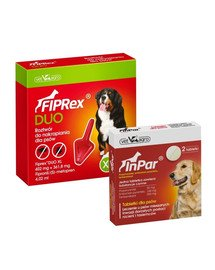VET-AGRO Fiprex Duo XL Preparat na kleszcze i pchły dla psa rasy bardzo duże + InPar Tabletki na odrobaczanie psa pasożyty wewnętrzne 2 tab.
