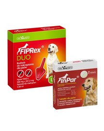 VET-AGRO Fiprex Duo L Preparat na kleszcze i pchły dla psa rasy duże + InPar Tabletki na odrobaczanie psa pasożyty wewnętrzne 2 tab.