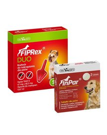 VET-AGRO Fiprex Duo S Preparat na kleszcze i pchły dla psa rasy małe + InPar Tabletki na odrobaczanie psa pasożyty wewnętrzne 2 tab.