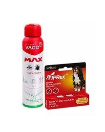 VET-AGRO FIPREX SPOT ON XL 40-60 kg 1 szt. + VACO Spray MAX na komary, kleszcze, meszki z PANTHENOLEM 100 ml