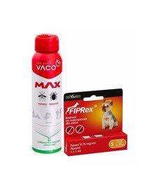 VET-AGRO FIPREX SPOT ON S do 10 kg 1 szt. + VACO Spray MAX na komary, kleszcze, meszki z PANTHENOLEM 100 ml