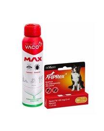 VET-AGRO FIPREX SPOT ON M 10-20 kg 1 szt. + VACO Spray MAX na komary, kleszcze, meszki z PANTHENOLEM 100 ml