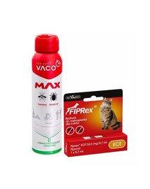 VET-AGRO FIPREX SPOT ON kot 1 szt. + VACO Spray MAX na komary, kleszcze, meszki z PANTHENOLEM 100 ml