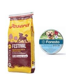 JOSERA Dog Festival dla wybrednych psów 15 kg + BAYER FORESTO Obroża foresto dla psa przeciw kleszczom i pchłom powyżej 8 kg
