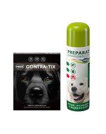 PESS Contra-Tix Obroża owadobójcza dla dużych psów 75 cm + PESS Flea-Kil Plus Preparat owadobójczy przeciw pchłom i kleszczom do pomieszczeń 250 ml