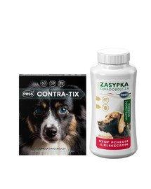 PESS Contra-Tix Obroża owadobójcza dla średnich psów 60 cm + PESS Sunia Zasypka owadobójcza przeciw pchłom i kleszczom dla psów i kotów 100 g