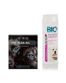 PESS Flea-Kil Obroża owadobójcza dla średnich psów i kotów 60 cm + Bio Szampon nawilżająco-regenerujący z proteinami pszenicy 200 ml