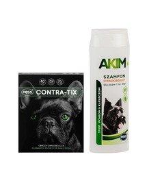 PESS Contra-Tix Obroża owadobójcza dla małych psów 40 cm + Akim Szampon owadobójczy przeciw pchłom i kleszczom dla psów 200 ml
