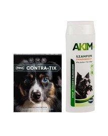 PESS Contra-Tix Obroża owadobójcza dla średnich psów 60 cm + Akim Szampon owadobójczy przeciw pchłom i kleszczom dla psów 200 ml
