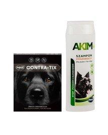 PESS Contra-Tix Obroża owadobójcza dla dużych psów 75 cm + Akim Szampon owadobójczy przeciw pchłom i kleszczom dla psów 200 ml