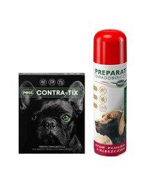 PESS Contra-Tix Obroża owadobójcza dla małych psów 40 cm + PESS Flea-Kil Preparat owadobójczy przeciw pchłom i kleszczom dla psów 250 ml
