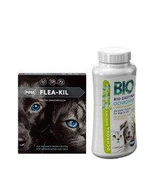 PESS Flea-Kil Obroża owadobójcza dla średnich psów i kotów 60 cm + PESS Bio Zasypka ochronna z olejkiem geraniowym 100 g