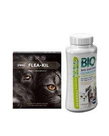 PESS Flea-Kil Obroża owadobójcza dla dużych psów i kotów 75 cm + PESS Bio Zasypka ochronna z olejkiem geraniowym 100 g