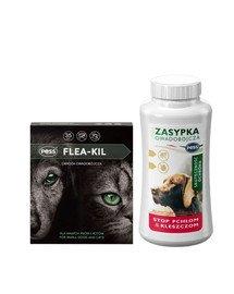 PESS Flea-Kil Obroża owadobójcza dla małych psów i kotów 35 cm + PESS Sunia Zasypka owadobójcza przeciw pchłom i kleszczom 100 g