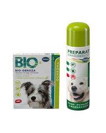 PESS BIO Obroża pielęgnacyjno-ochronna z olejkiem geraniowym i cedrowym dla psów 60 cm + PESS Flea-Kil Plus Preparat owadobójczy przeciw pchłom i kleszczom do pomieszczeń 250 ml