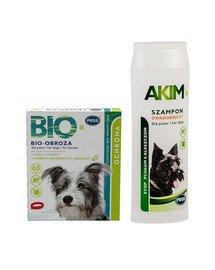 PESS BIO Obroża pielęgnacyjno-ochronna z olejkiem geraniowym i cedrowym dla psów 60 cm + PESS Akim Szampon owadobójczy przeciw pchłom i kleszczom 200 ml
