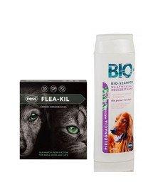 PESS Flea-Kil Obroża owadobójcza dla małych psów i kotów 35 cm + Bio Szampon ułatwiający rozczesywanie z proteinami jedwabiu 200 ml