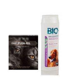 PESS Flea-Kil Obroża owadobójcza dla dużych psów i kotów 75 cm + PESS Bio Szampon ułatwiający rozczesywanie z proteinami jedwabiu 200 ml