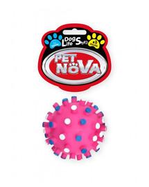 DOG LIFE STYLE Piłka jeż z wypustkami 7cm różowa
