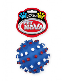 DOG LIFE STYLE Piłka jeż z wypustkami 8,5cm niebieska