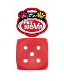 DOG LIFE STYLE Kostka do rzucania zabawka dla psa 6cm czerwona