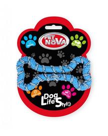 DOG LIFE STYLE Sznur dla psa kość 20cm, niebieski, aromat mięta