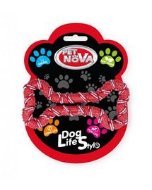 DOG LIFE STYLE Sznur dla psa kość 20cm, czerwony, aromat mięta