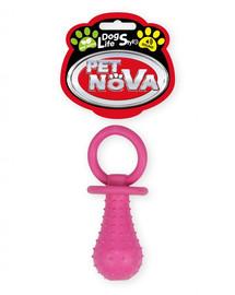 DOG LIFE STYLE Smoczek z dzwonkiem 14cm różowy aromat mięta