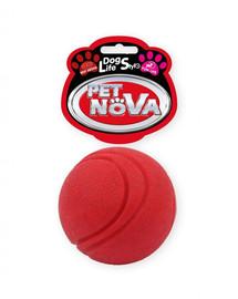 DOG LIFE STYLE Piłka tenisowa 5cm, czerwona, aromat wołowina