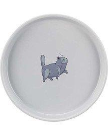 Miska ceramiczna dla kota z kocim motywem 0,6l/23cm szara