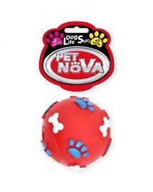 DOG LIFE STYLE Piłka ze wzorem łapek i kości 6cm czerwona