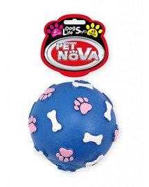 DOG LIFE STYLE Piłka ze wzorem łapek i kości 9cm niebieska