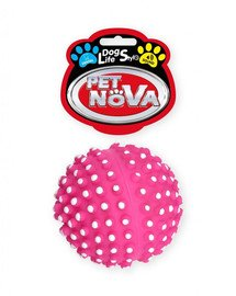DOG LIFE STYLE Piłka jeż z wypustkami 6,5cm różowa