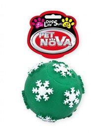 DOG LIFE STYLE Piłka z płatkami śniegu 7,5cm zielona