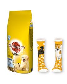 PEDIGREE Junior 15kg (średnie rasy) - sucha karma dla psów z kurczakiem i ryżem + skarpety GRATIS
