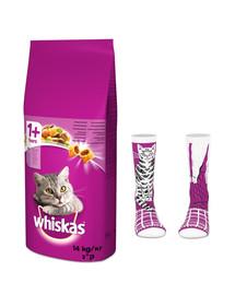 WHISKAS Adult 14kg - sucha karma dla kotów z tuńczykiem i warzywami + skarpety GRATIS