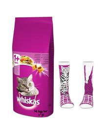 WHISKAS Adult 14kg - sucha karma dla kotów z wołowiną i warzywami + skarpety GRATIS