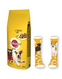 PEDIGREE Adult 12kg (małe rasy) - sucha karma dla psów z wołowiną i warzywami + skarpety GRATIS