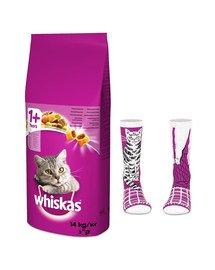 WHISKAS Adult 14kg - sucha karma dla kotów z kurczakiem i warzywami + skarpety GRATIS