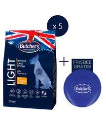 BUTCHER'S Functional Light Dog Dry z kurczakiem i ryżem 2,5kg x 5 + frisbee GRATIS