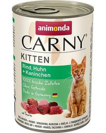 Carny Puszka Kitten Wołowina/Kurczak/Królik 400 g