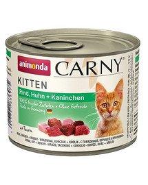 Carny Puszka Kitten Wołowina/Kurczak/Królik 200 g
