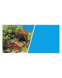 Dwustronne tło do akwarium Rośliny i kamienie Niebieskie 30cmx7.5m