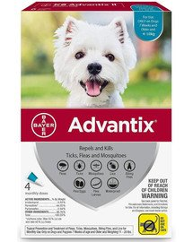 ADVANTIX Roztwór do nakrapiania dla psów od 4 do 10 kg (4 x 1ml)