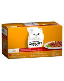 GOLD - kawałki w sosie wołowina; indyk i kaczka; kurczak i watróbka; łosoś i kurczak (4x85g)