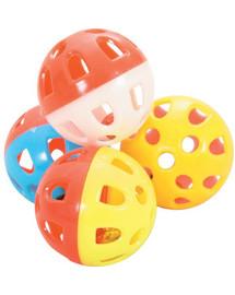 Zabawki dla kota zestaw 4 kul z dzwonkami 3 cm