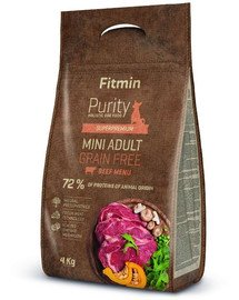 Dog Purity Grain free adult mini beef 4 kg