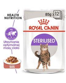 Sterilised 12x85 g w sosie karma mokra w sosie dla kotów dorosłych, sterylizowanych