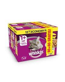 WHISKAS Adult 12+12 GRATIS - mokra karma dla kotów potrawka w galaretce smaki drobiowe