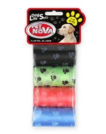 Dog Lifestyle worki na psie nieczystości, 4 rolki x 20 szt. różne kolory